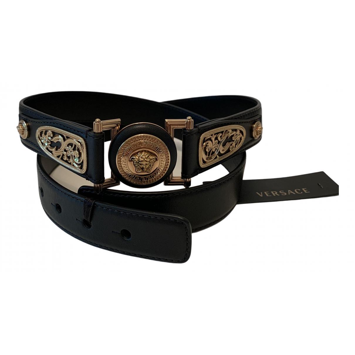 Versace \N Black Leather belt for Women 95 cm