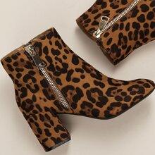 Botas de leopardo de tacon grueso de punta de almendra