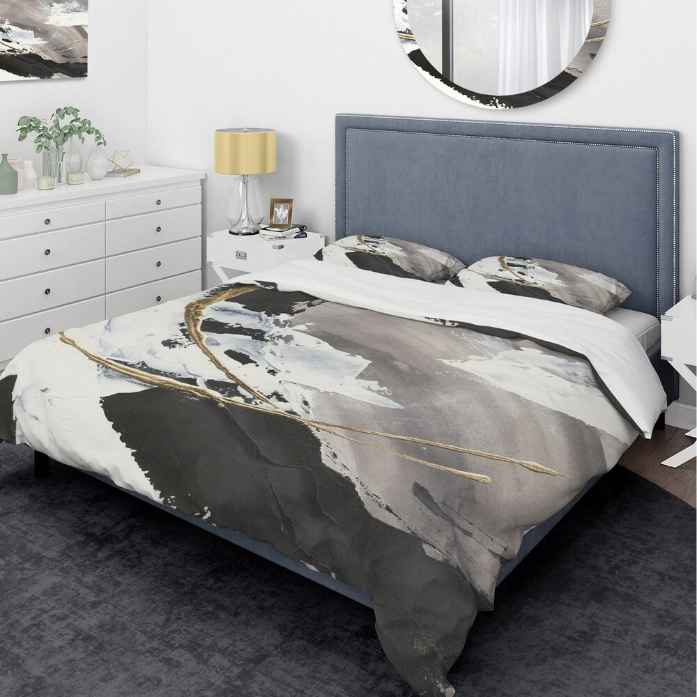 Designart 'Glam Printed Arcs II' Glam Bedding Set - Duvet Cover & Shams (King Cover + 2 king Shams (comforter not included))