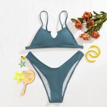 Bikini Badeanzug mit Ausschnitt und hohem Beinschnitt