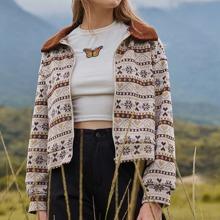 Fair Isle Pattern Collar Jacket