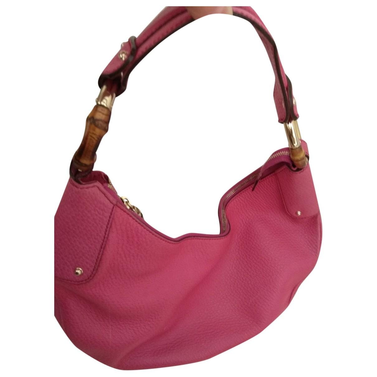 Gucci Bamboo Handtasche in  Rosa Leder
