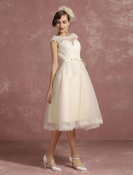 Milanoo Lace Wedding Dress Short Illusion Vintage Bridal Dress Backless Chains A Line Sleeveless Crewneck Bridal Dress With Bow Sash