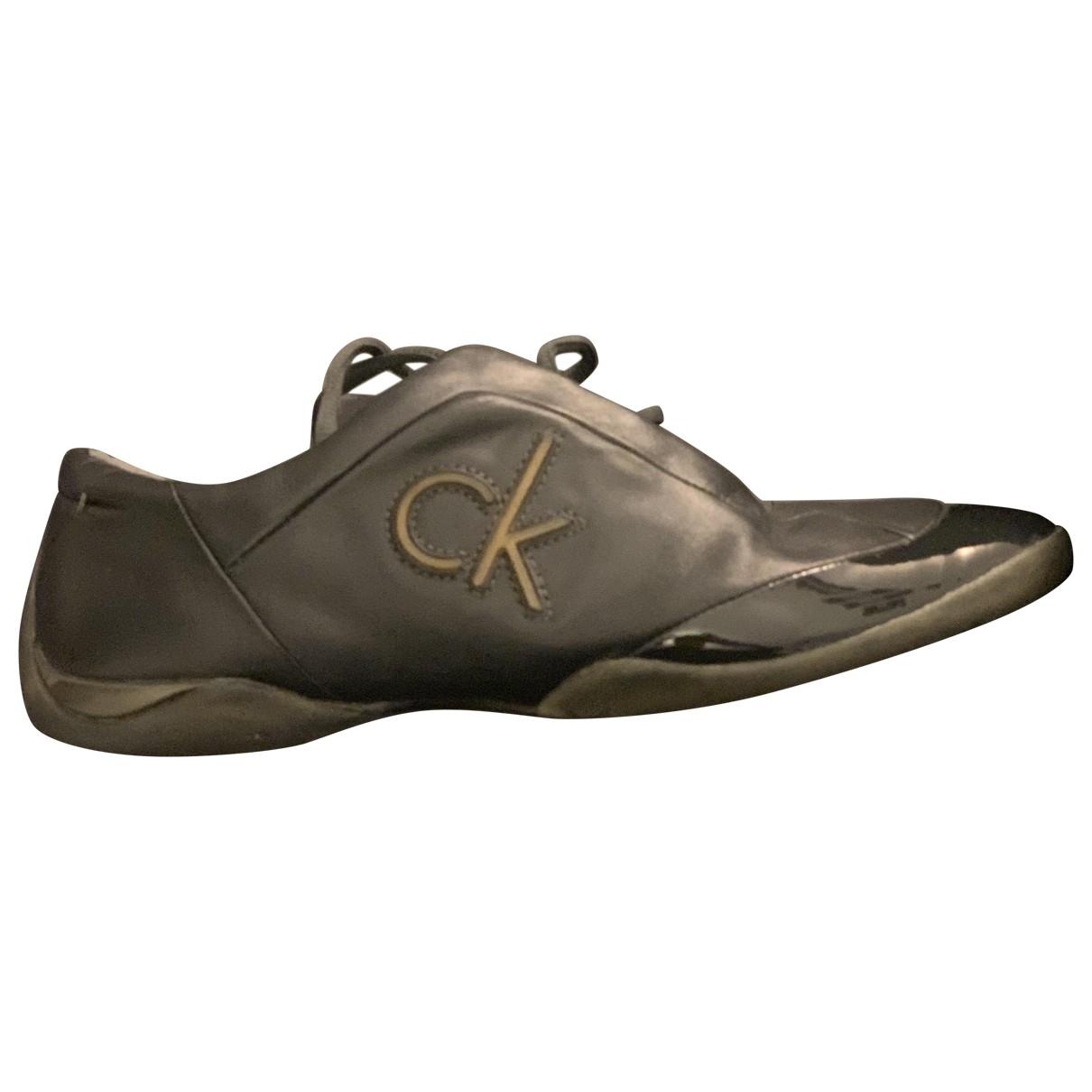 Calvin Klein - Baskets   pour femme en cuir - anthracite