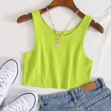 Neon Lime Crop Knit Top