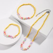 3pcs Girls Floral Beaded Jewelry Set
