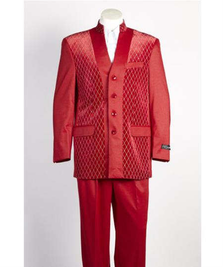 Mens 4 Button Red Shiny Single Breasted Suit
