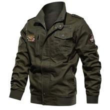 Men Flap Pocket Patched Jacket