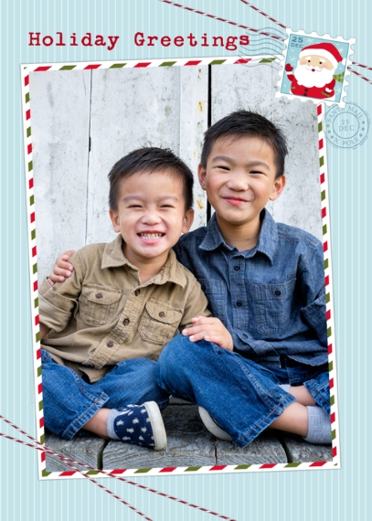 Christmas Photo Cards 5x7 Folded Cards, Standard Cardstock 85lb, Card & Stationery -Happy Greetings Santa Stamp