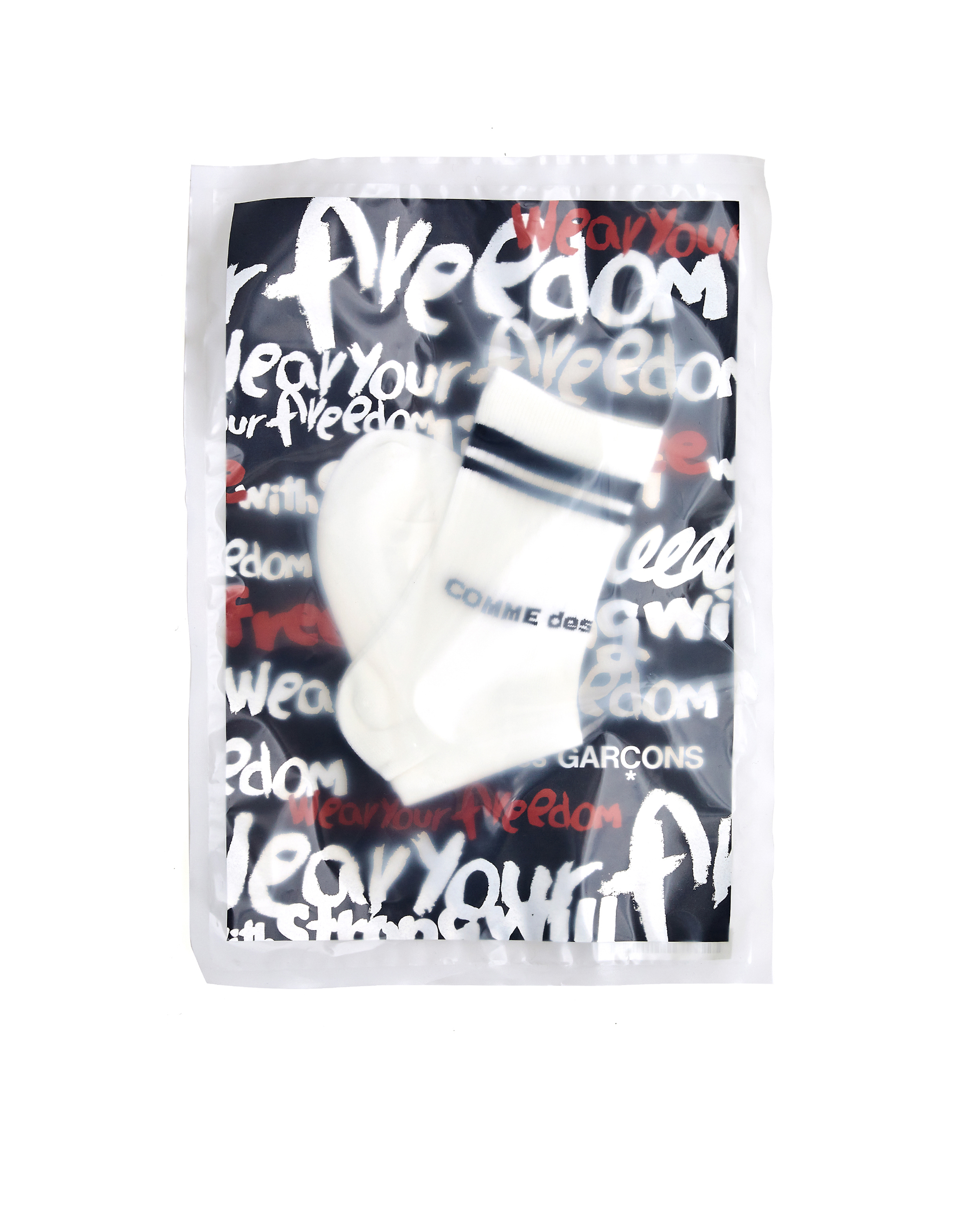 Comme des Garcons White Cotton Socks With Stripes