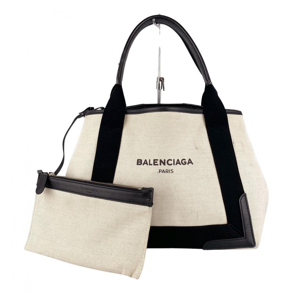 Balenciaga Navy cabas Ecru Cloth handbag for Women N