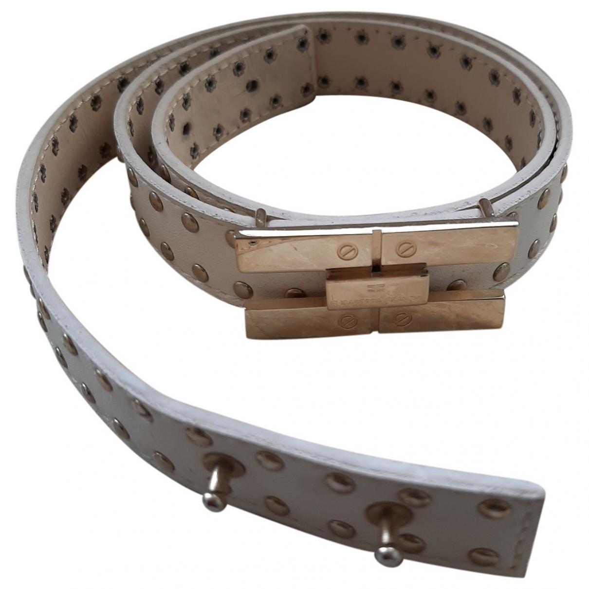 Elisabetta Franchi \N White Leather belt for Women 75 cm