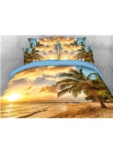 Palm Tree and Golden Beach Seaside Printed 5-Piece 3D Bedding Sets/Comforter Sets