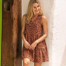 Kleid mit Dalmatiner Muster und Raffungsaum