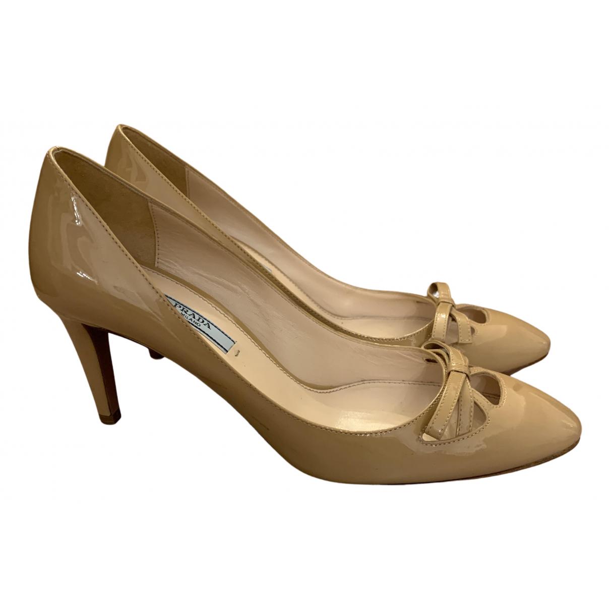 Prada N Beige Patent leather Heels for Women 38.5 EU