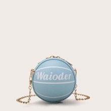 Mini Letter Graphic Ball Shaped Chain Bag