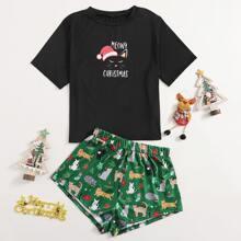 Schlafanzug Set mit Weihnachten & Buchstaben Grafik