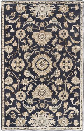 Caesar CAE-1164 5 x 8 Rectangle Traditional Rug in Ink  Beige  Sea Foam