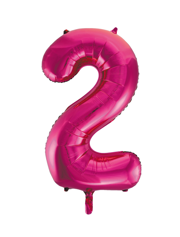 Folienballon Zahl 2 pink