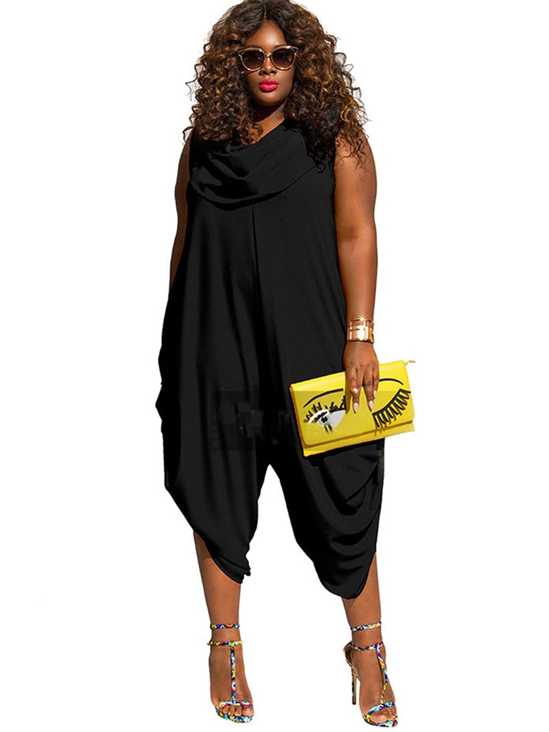 Ericdress Plus Size Pure Patchwork Color Pleated Women's Jumpsuits