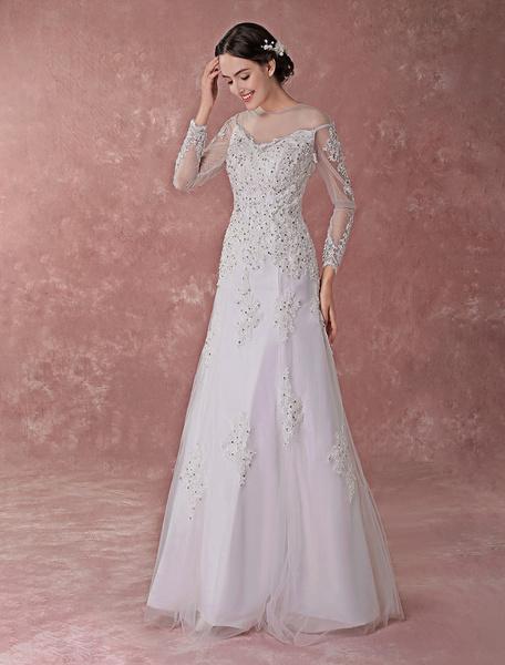 Milanoo Vestidos de novia blancos Encaje Apliques Lentejuelas Rebordear Manga larga Una linea Ilusion Longitud del piso Vestido de novia