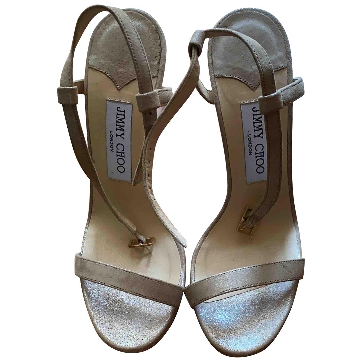 Jimmy Choo \N Gold Suede Sandals for Women 38 EU