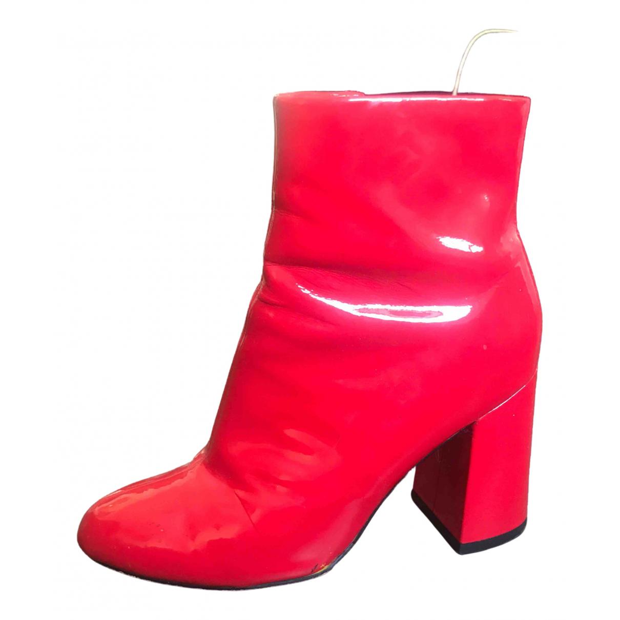 Mellow Yellow - Boots   pour femme en cuir verni - rouge
