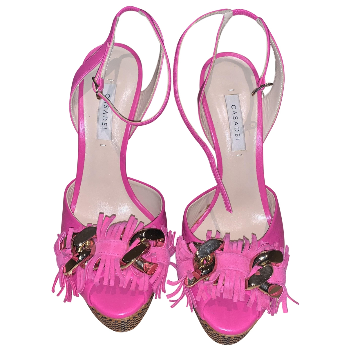 Casadei \N Pink Leather Mules & Clogs for Women 38 EU