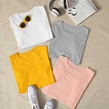 4 Stuecke einfarbiges T-Shirt mit rundem Kragen