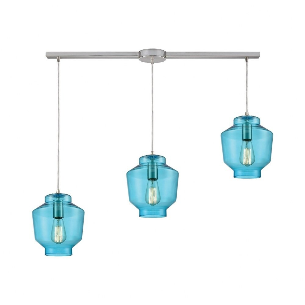 Fernfield Close - Three Light Linear Mini Pendant  Satin Nickel Finish with Aqua Blown Glass (Satin Nickel)