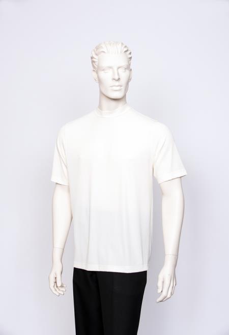 Carla Mens T-Shirt Ribbed Short Sleeve Sweater Cream