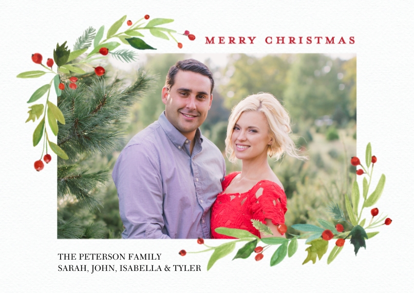 Christmas Photo Cards 5x7 Cards, Standard Cardstock 85lb, Card & Stationery -Christmas Watercolor Floral by Tumbalina