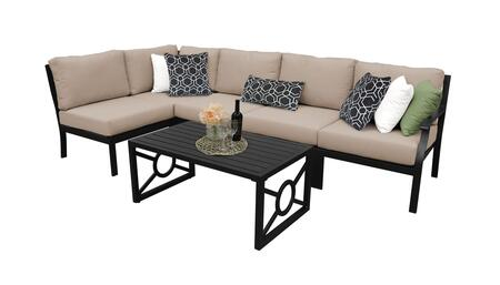 MADISON-06q-WHEAT Kathy Ireland Homes and Gardens Madison Ave. 6 Piece Aluminum Patio Set 06q with 1 Set of Snow and 1 Set of Toffee