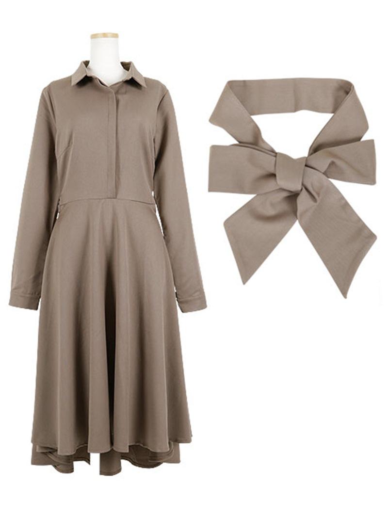 Ericdress Lapel Bowknot Belt Asymmetrical Day Dress