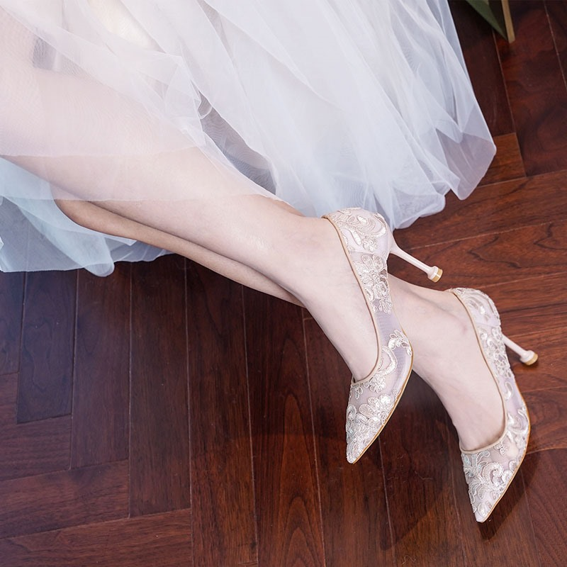Ericdress Lace Pointed Toe Slip-On Banquet Thin Shoes