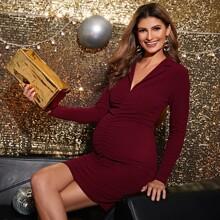 Maternidad vestido fruncido de cuello V