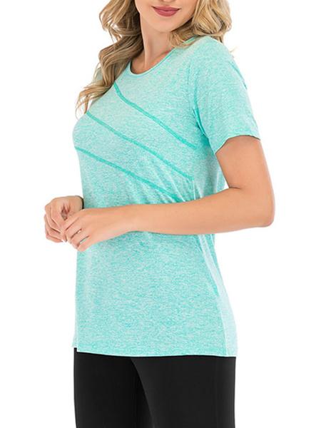Milanoo Camiseta de entrenamiento manga corta rayas cuello joya mujer camiseta
