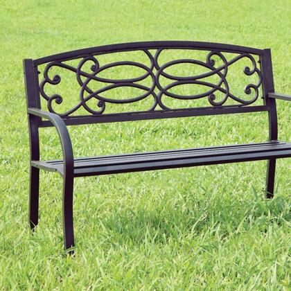 Potter CM-OB1808 Patio Steel Bench with Armrests  Slated Seat  Steel  Black Finish in