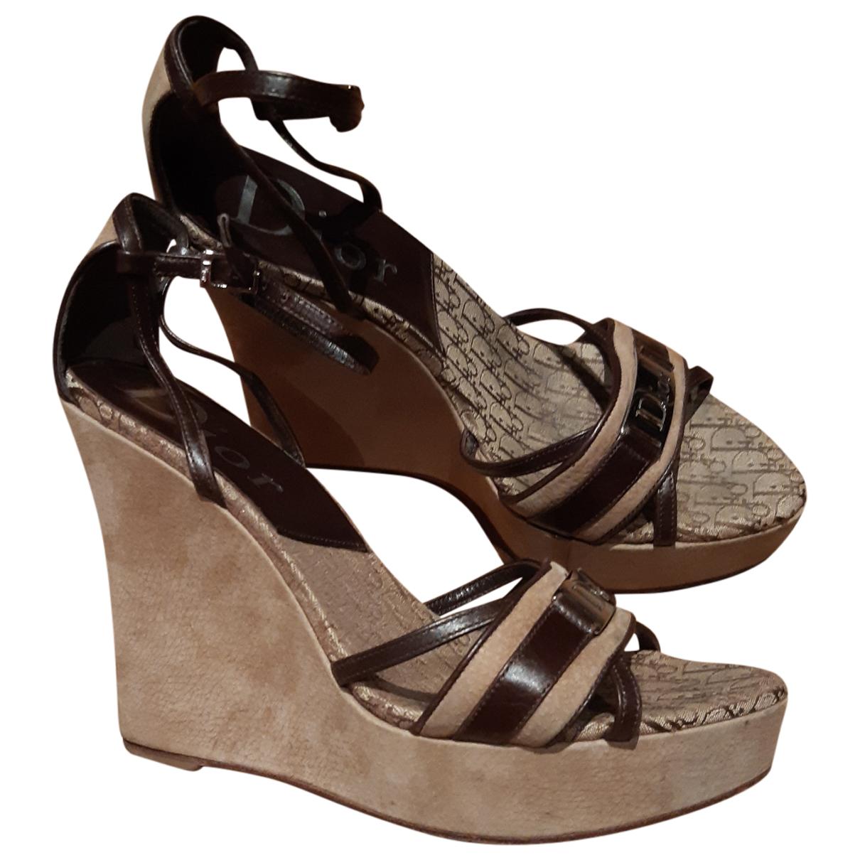 Dior - Sandales   pour femme en toile - marron