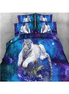 3D White Tiger and Galaxy Printed 5-Piece Comforter Sets