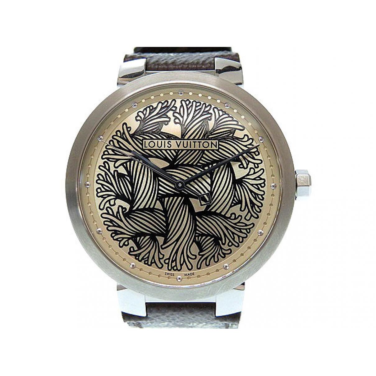 Louis Vuitton Tambour Uhr in Stahl