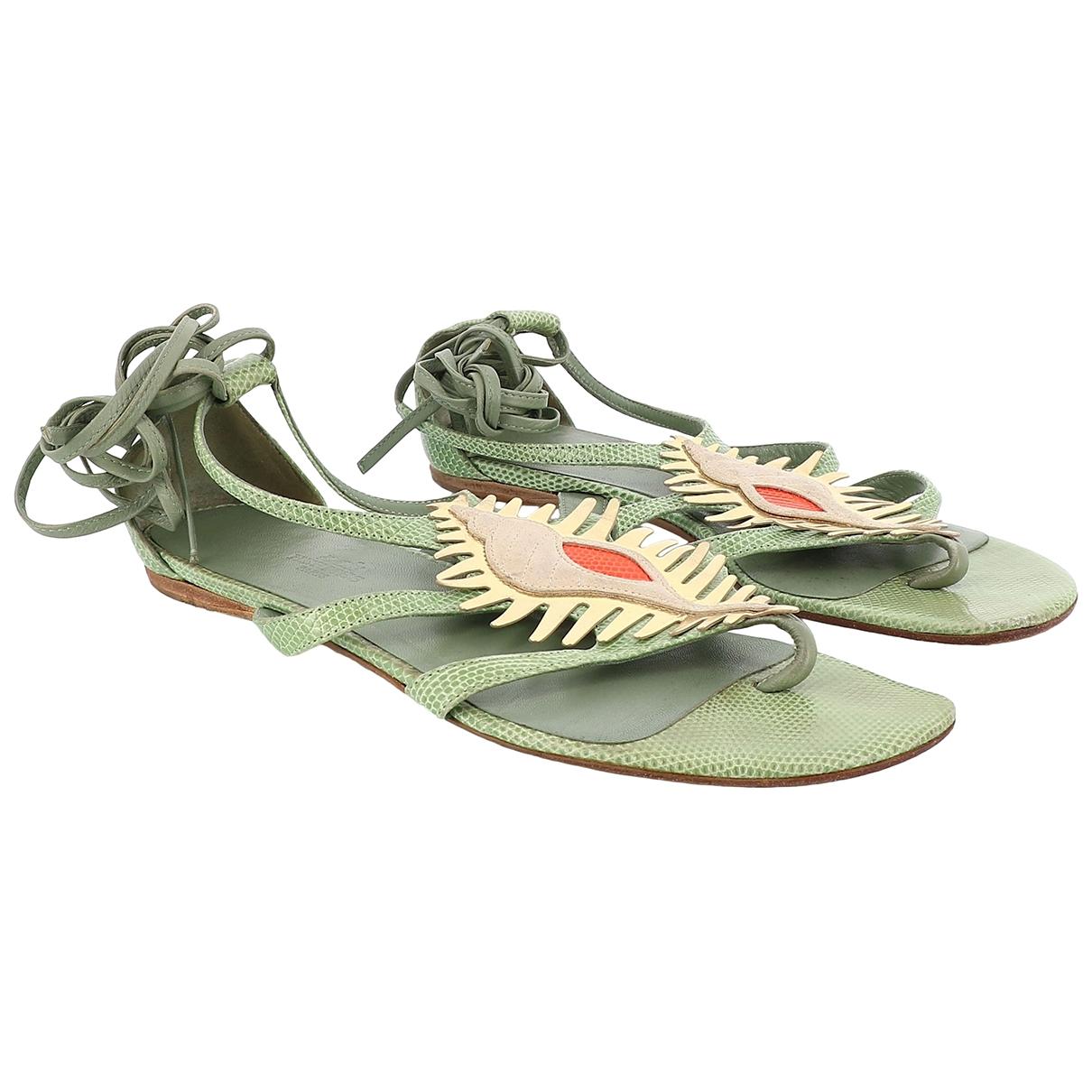 Hermes - Sandales   pour femme en cuir - vert