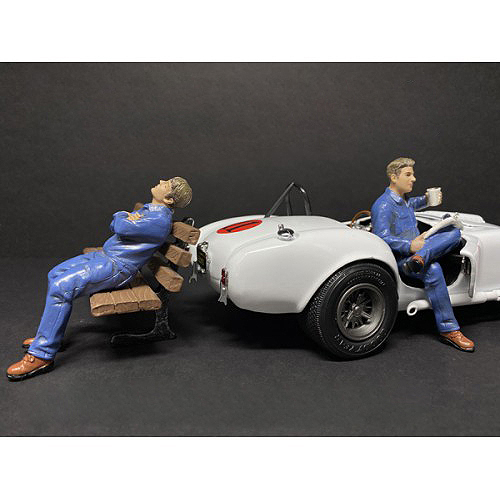Sitting Mechanics 2 piece Figurine Set for 1/24 Scale Models by American Diorama