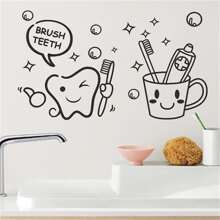 Tooth & Toothbrush Cup Print Wall Sticker