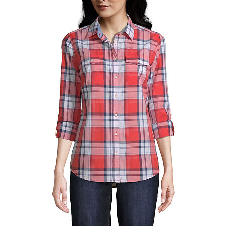 St. John's Bay Womens Long Sleeve Classic Fit Button-Down Shirt, Petite Large , Red