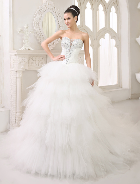 Milanoo Ivory Ball Gown Sweetheart Neck Strapless Tiered Chapel Train Tulle Wedding Dress For Bride