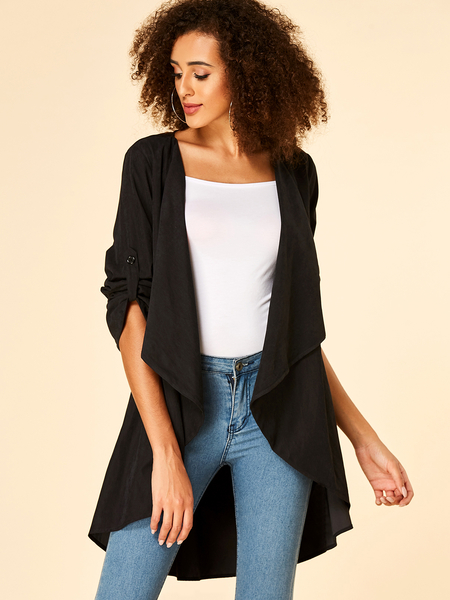 Yoins Black Adjustable Sleeves Straps Open Front Cardigan