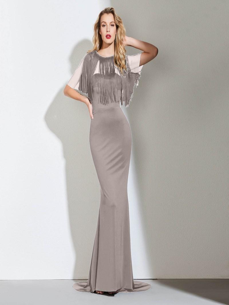 Ericdress Half Sleeve Black Mermaid Evening Dress With Detachable Train