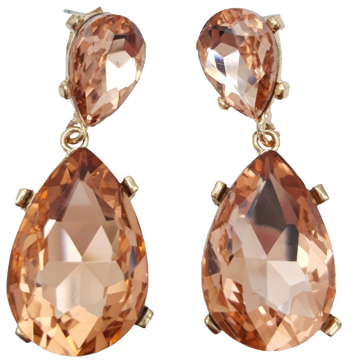 - Boucles doreilles Art Deco pour femme en cristal - rose