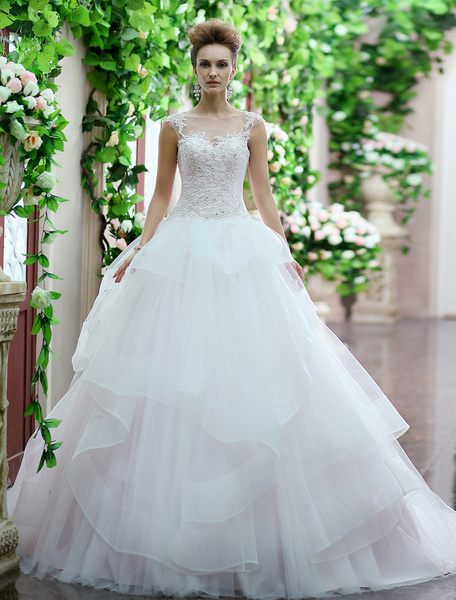 Milanoo Vestido de novia de tul con escote redondo